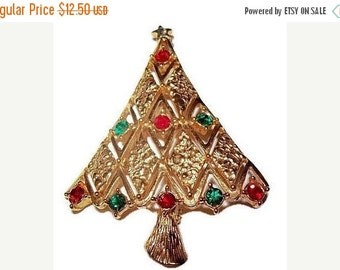"Rhinestone Gold Metal Christmas Tree Brooch Pin Red Green Color Diamond Design 2.5"" Vintage"