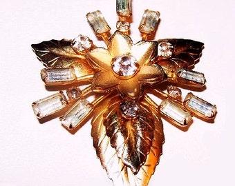 "Gold Leaf Brooch Pendant Baguette Clear Rhinestones Textured Metal 21/4"" Vintage 1950s"