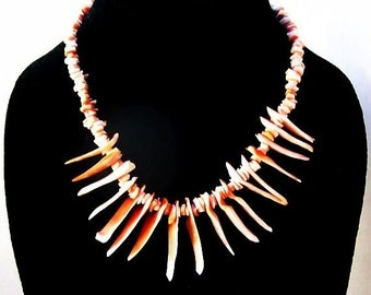 """Red Branch Coral Necklace Single Strand Pink Coral Shells Barrel Clasp 17"""" Vintage"""