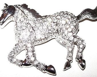 "Rhinestone Galloping Horse Brooch Pave Set Black Eyew Silver Metal 2 3/4"" Vintage"