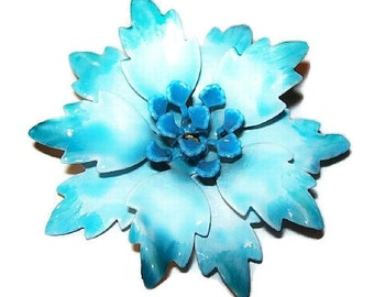 "Aqua Blue Flower Brooch Pin Layered Petal Enamel Painted 2.5"" Vintage"