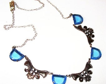 "Czech Art Deco Bib Necklace Blue Art Glass Silver Metal Ribbons 19"" Vintage"