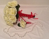 Bridal Bouquet, Cream White Silk Roses, Wedding Bouquet ,Red Satin Ribbon Handle, Groom Boutonniere