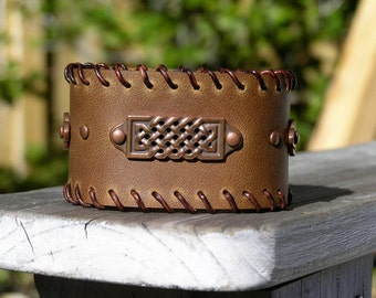 Leather Celtic Cuff Bracelet
