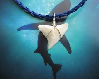 "Shark Tooth Necklace, Modern day Bull Shark tooth, Braided leather cord 18"", Silver plated wire wrap"