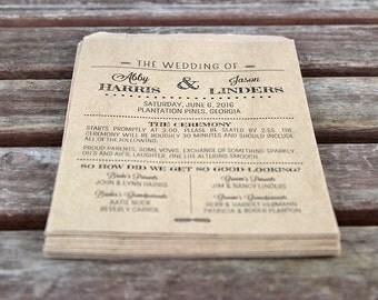Paper Bag Programs:  Set of 25. Custom Flat Kraft Paper Bag Wedding Programs. Rustic Wedding. Wedding Ceremony Decor. Modern Rustic