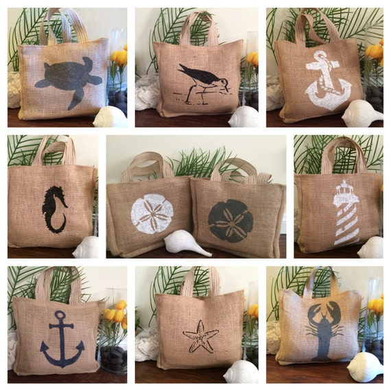 Small Burlap Beach Tote Bag Beach Bag Small Tote Small