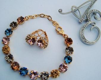 Gold Bracelet Swarovski Crystal Spring Colors Denim Blue Vintage Rose Smokey Topaz Greige 8mm 39ss Chatons