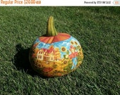 ON SALE - 30% Off - Thanksgiving or Fall Pumpkin, Stuffed Fabric Scenic Pumpkin, Home Decor - Fall Decor