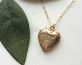 Vintage locket necklace / gold filled heart shaped locket / Cupid's Arrow and Hearts with Rhinestones / Follow Your ARROW