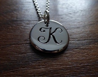 Letter K Initial Silver Pendant Necklace