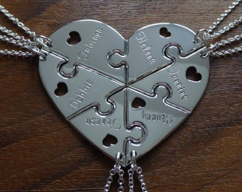 Six Piece Heart with Names and Hearts, Silver Pendant Necklaces