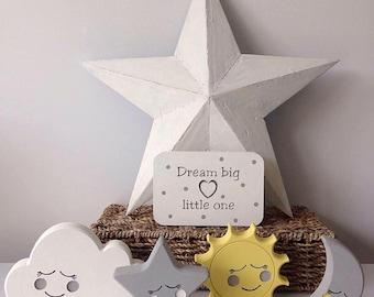 Moon, star, cloud and sun nursery child's bedroom decor set