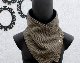 Mens winter. Mens cowl scarf. Chunky scarf. Black and brown herringbone wool with metalic snaps .Chunky,cozy. Cowl scarf. Mens. Gift for her