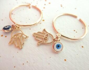 Gold Hamsa and Evil eye dangle ring - adjustable ring - gold vermeil hamsa evil eye ring - blue evil eye - white evil eye