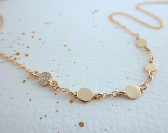 mini gold disc with cz disc necklace -multi disc - 14K gold-filled chain  - gold disc necklace -  teeny tiny discs - dainty jewelry