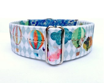 Balloon Collage Dog Collar - 1 inch or 1.5 inch Hot Air Balloon Buckle Collar or Martingale Dog Collar