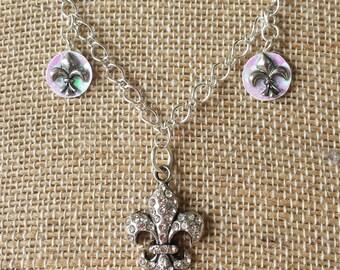 Fleur De Lis Rhinestone Necklace