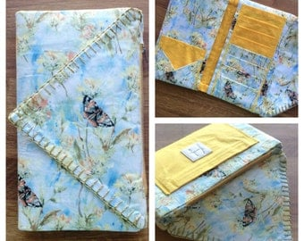 Dimpled Watercolor Clutch - Butterflies in the Garden - Sky Blue Floral Large Wallet - Traveling Clutch - Gold Hand Stitched Edging