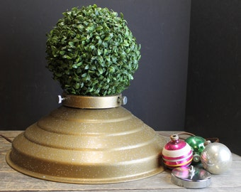 Vintage Star Bell Revolving Musical Christmas Tree Stand // With Glitter // Outlets // Working