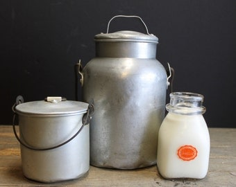 Vintage White Aluminum Milk and Butter Cans // With Lids and Handles