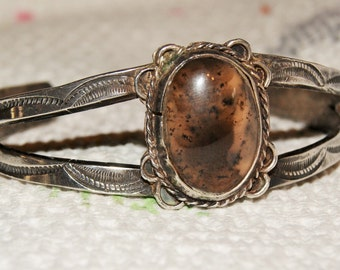 VINTAGE NAVAJO CUFF Moss Agate Sterling c1950