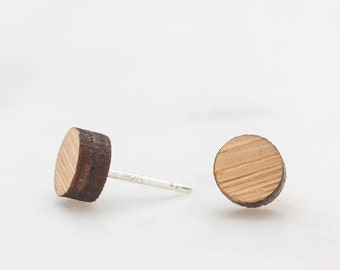 Wood Stud Earrings - Perla Tiny Round Wood Stud Earrings - Minimalist Earrings - Simple Stud Earrings