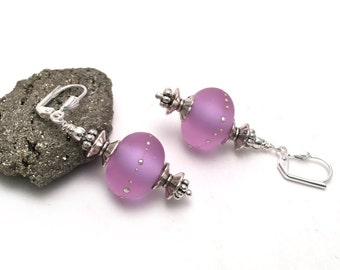 Color Changing Lampwork Glass Earrings - Frosted Glass Earrings - Matte Lavender Earrings - Pure Silver Dots - Silver Earrings - SRAJD