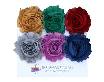Fall and Winter 2016-2017 Shabby Rose Flower Hair Clips or Ponytail Holders, Set of Six
