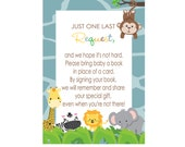 Jungle Invitation Insert Bring a Book Card Boys Baby Shower Instant Download Printable Game Card Printed Stationery Safari Book Insert (JUN)