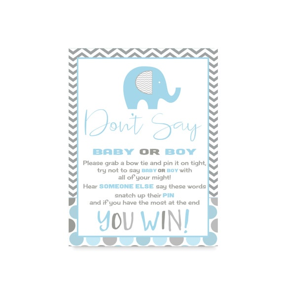 elephant don 39 t say baby shower game boys clothespin actvity blue