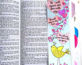 Bible Journaling Bible Verse Art Bible Verse Print great for faith journals Art Journal Hearts Love Sing bird Zephaniah 3:17