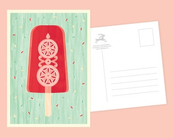 Crafty Popsicle Postcard or Postcard Set - Inspired by Lithuania Series