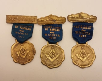 Antique Free Mason Medal Set, 1917, 1919 Grand Lodge of Wichita - Masonic Home Wichita Destroyed by Fire Commemorative Medal Dec 22 1916