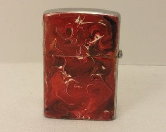 Vintage Custom OOAK Hand Painted My-Lite Korea FlipTop Lighter - rehabbed with new wick and flint, cleaned inside and out - Fire Mage