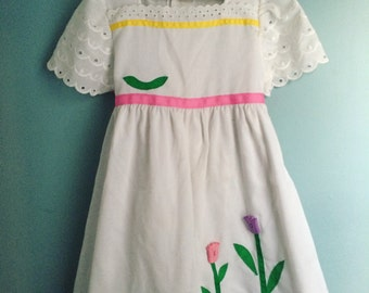 Vintage eyelet tulip dress 6x