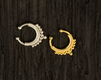 Sterling silver Fake Septum Ring, Gold plated Septum Ring,Clip On Septum (F2)