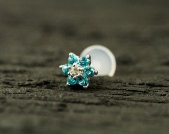 Swiss blue CZ gems flower push in 16gauge bio flexible labret / helix / cartilage / tragus piercing