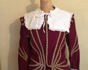 Men's burgundy Renaissance, Elizabethan, Musketeers costume