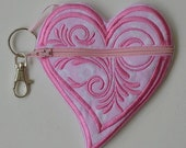 Coin Purse Bright Pink Heart Gift Many Uses Kids Adults Backpack Clip Pink Heart Zipper Pouch Back To School Pocket Purse
