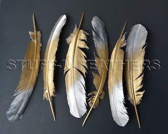 GOLD & SILVER feathers - large painted turkey feathers for millinery, wedding party decor, table settings /10-14 in (25-35 cm) long / F171GS