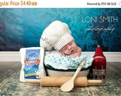 4th of July SALE Instant Download PDF Crochet Pattern - No. 3 Baby Pastry Baker Chef Hat - 6 Sizes