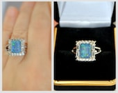 SALE Australian Opal Engagement Ring, Opal Promise Ring, Halo, Square Solitaire Gemstone, Non traditional Rings, Triplet