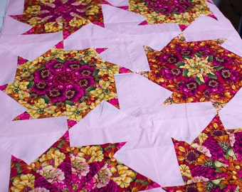 """Quilt Top 58"""" X 88""""  flowery triangle circles"""