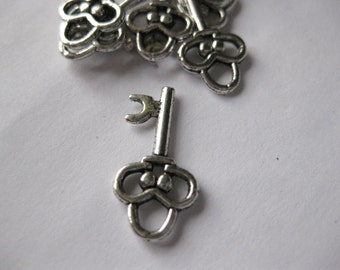 Key Pendant Charm Antique Silver 20x12mm Jewelry Findings