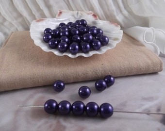 10mm Navy Faux Loose Pearls ~ 50 pieces