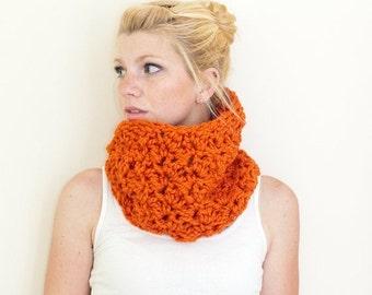 SUMMER SALE The Chunky Cowl Neckwarmer  Scarf - pumpkin orange - Wool Blend