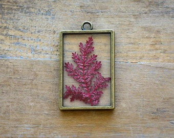 Double Sided Glass Nature Pendant with Preserved RED Fern Leaf Inside Vintage Jewelry Supplies (BC019)