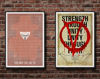 20% OFF! V for Vendetta 2 Pack - You May Call Me V and Norsefire Propaganda Prints