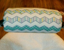 Reversible Car Seat Arm Saver Handle Cushion Boy Happi Chevron with Teal Dimple Dot Minky Infant Newborn Baby Boy Accessories ITEM #316